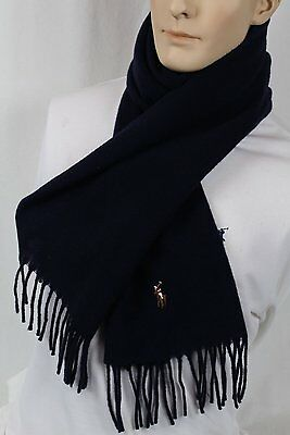 Polo Ralph Lauren Navy Blue Wool Cashmere Scarf Nwt