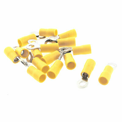 15pcs Yellow Plastic Sleeve Pre Insulated Ring Terminals Connector