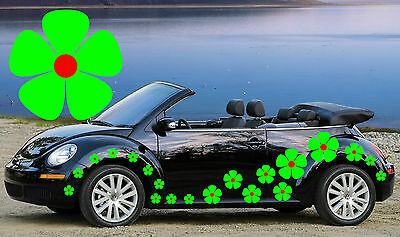 32 Green & Red Pansy Car Decals, Flower Car Decals, Car Graphics, Car Stickers