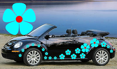 64 Blue & Red Pansy Car Decals, Flower Car Decals, Car Graphics, Car Stickers