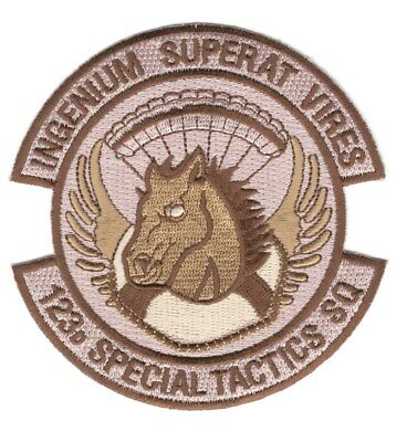"USAF Air Force Patch:   123rd Special Tactics Squadron - 3 3/4"", tan"