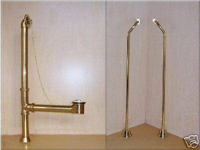 brass DRAIN KIT + WATER PIPES for claw foot tub