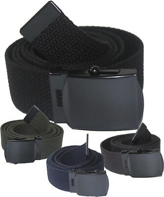 Adjustable Children Canvas Web School Uniform Belt Kids Boys Girls Black Buckle