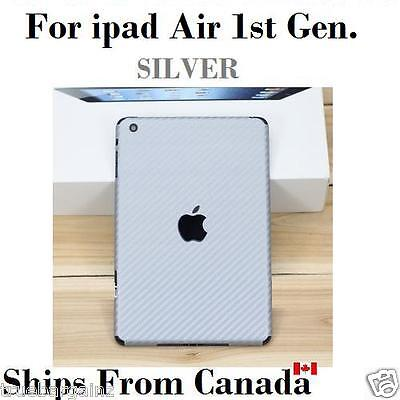 Carbon Fiber Back Vinyl Wrap Sticker Skin Cover for Apple iPad Air - SILVER
