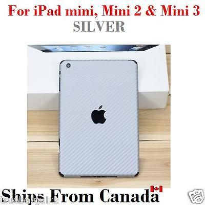 SILVER Carbon Fiber Back Vinyl Sticker for Apple iPad Mini,Mini 2 & 3 Skin Cover
