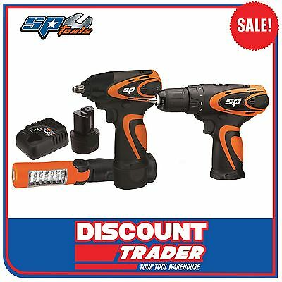 SP Tools Cordless Lithium-Ion 12V Combo Kit Impact Wrench/Drill/Torch - SP82140