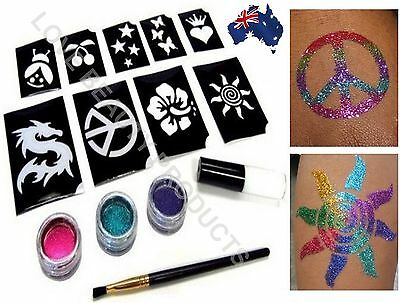 Shimmer Glitter Temporary Tattoo Body Kit Set GREAT VALUE FOR CHRISTMAS