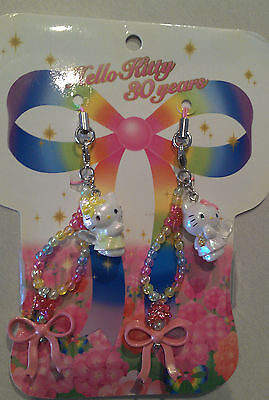 Sanrio HELLO KITTY 30 YEARS Pair of Phone Strap Gorgeous Charms  - New in Packet