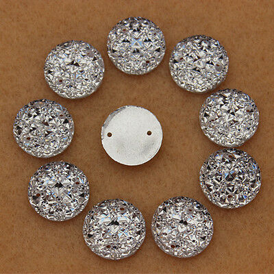 100pc 14mm Round Acrylic Rhinestones Crystal Flat Back Beads Sew on 2 Hole ZZ333