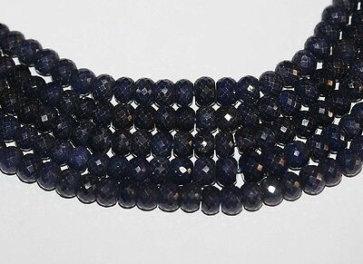 "14"" Sapphire Faceted Rondelle 7-8mm Gemstone Beads TOP CUT BIG"