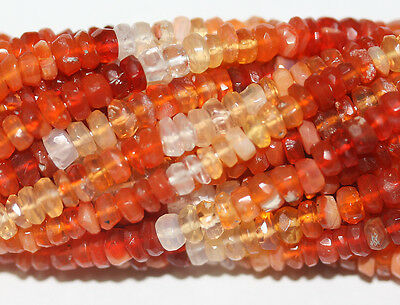 """AAA 14"""" Fire Opal  Faceted  Rondelle Beads 4mm Loose"""