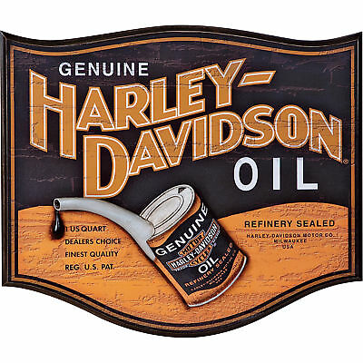 Retro Harley-Davidson Oil Can Logo Wooden Bar/Pub Sign
