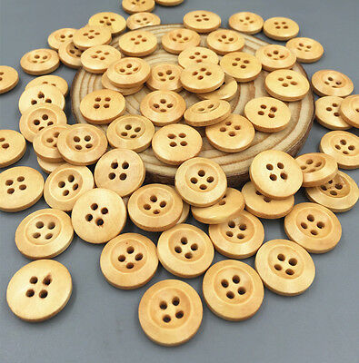 50/100PCS Round 4-holes Wooden buttons Fit sewing or Scrapbooking craft 15mm