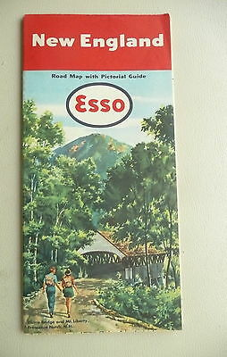 1951 New England   road  map Esso oil gas  pictorial guide Franconia Notch cover