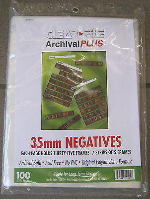 Clear File Archival 35mm Negative Saver 7 Strips of  5 100 Pages FREE SHIPPING