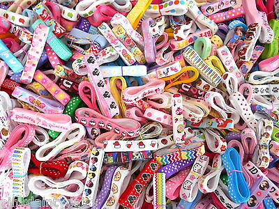 "20 YARDS 3/8"" Mixed Grosgrain Ribbon characters prints dots stripe 1 yard pieces"