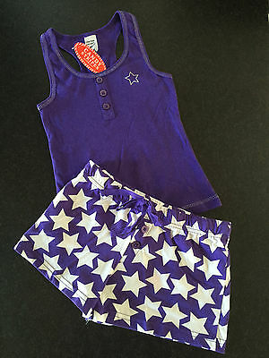 BNWT Girls Sz 10 Cute Purple/Stars Print Short Summer Style Stretch PJ Pyjamas