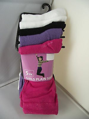 BNWT Girls Pack of 5 Cute Mixed Colours Crew Style Socks Size 9-12 Age 5-8 Years