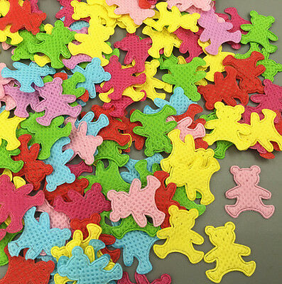 200pcs Mixed Colors Die Cut Bear Felt Circle Appliques Cardmaking decoration
