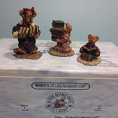 BOYDS VILLAGES 19506-1 PUBLIC LIBEARY - Library 3 pc Accessory Set Bear Town New