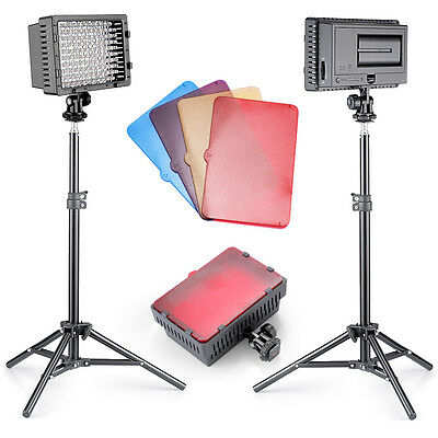 Neewer 2pcs CN-160 LED Video Light Lighting Kit with Color Filter + Light Stand