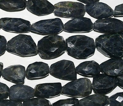 """14"""" St Iolite Cordierite Faceted Nugget  Beads 18x12mm"""