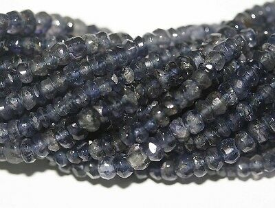 """14"""" St Iolite Cordierite Faceted  Rondelle  Beads 4mm"""