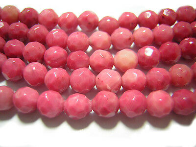 "AAA 15""  Pink  Rhodonite Faceted   Round Beads 6mm Gemstone Loose"