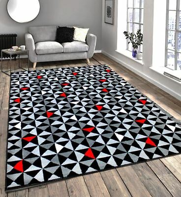 New Black Grey Red White Modern Home Contemporary Soft Touch Designer Rug