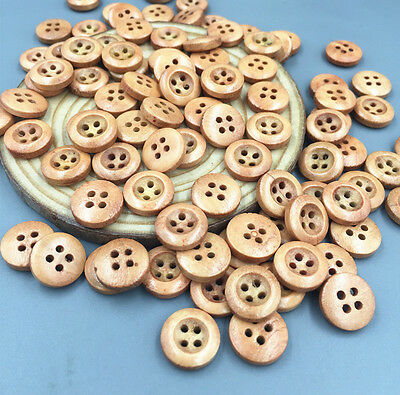 100pcs Fit Sewing or Scrapbooking Crafts 4-holes Round Wooden buttons 12mm