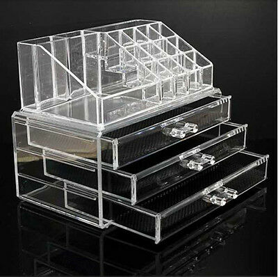 Cosmetic Organizer Acrylic Make Up Drawers Holder Case Box Jewelry Storage Clear