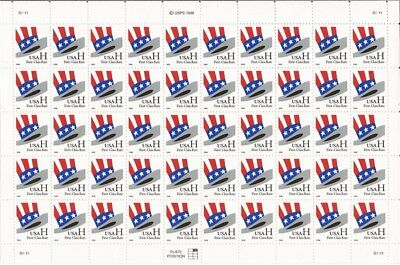 US Stamp - 1998 Uncle Sam Hat H Rate - 50 Stamp Sheet - Scott #3260