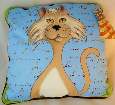 "Cat  Pillow Tan and White Kitty 12"" Sq Art Print Made in USA NWT"
