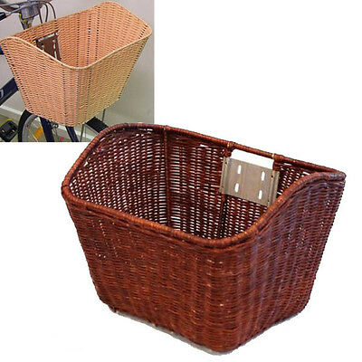 Plastic Wicker Look Front BIke Basket - Brown