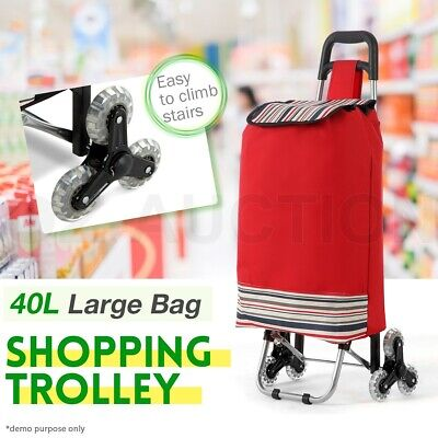 Shopping Cart Carts Trolley Bag w/ Vibrant Coloured Nylon Bag Luggage Wheels Red