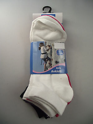 BNWT Girls Pack of 5 Cute Mixed Colours Ankle Socks Size 13-3 Age 8-10 Years