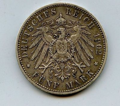 Royal German Prussia Empire Kaiser King Dynasty Reich Eagle Silver 5 Mark Coin