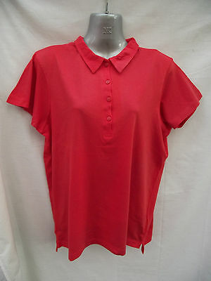 BNWT Ladies Sz 16 Rivers Brand Pretty Red Short Sleeve Relaxed Fit Polo Top