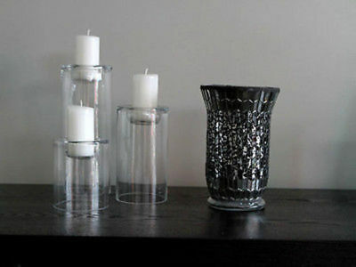 6 x Hurricane Candle Holder Mosaic20cm tall Bulk Wholesale lot reduced to clear