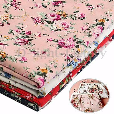 Rose Floral Flowers Cotton Fabric For DIY Craft Dress Making Sewing 100cmx150cm