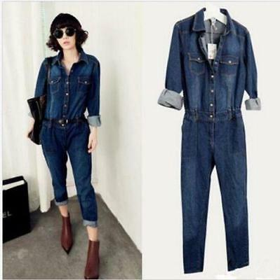Fashion Womens Jeans Jumpsuit Vintage Denim Fashion Belted Overalls
