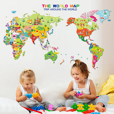 Animals World Map Vinyl Art Wall Sticker Decals Living Room Kids Playroom Decor