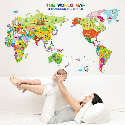 the World Map Animals Vinyl Art Wall Stickers Decals Mural Kid Room Home Decor