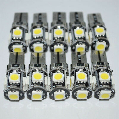 10x White Led Canbus Error Free 5 SMD Car Side Wedge light Bulb T10 168 194 W5W
