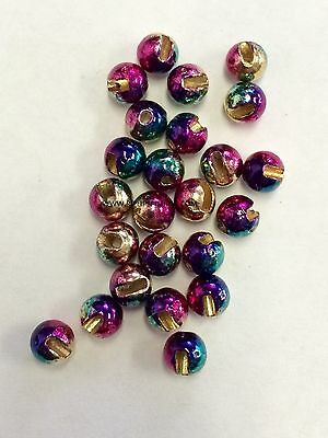 """Tungsten Slotted Fly Tying Beads Rainbow 4.5 Mm 3/16 """" 100 Count"""