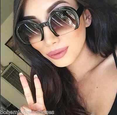 Vintage Retro Future Razor Round Cut Off Lens  Women Gradient Sunglasses