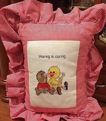 Chi Omega Suzys Zoo Cross Stitch Red Gingham Pillow Duck