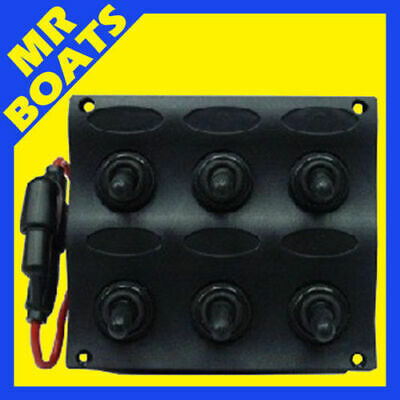 6 SWITCH PANEL MARINE GRADE Splash Proof UV resistant 12 Volt 6 gang FREE POST.