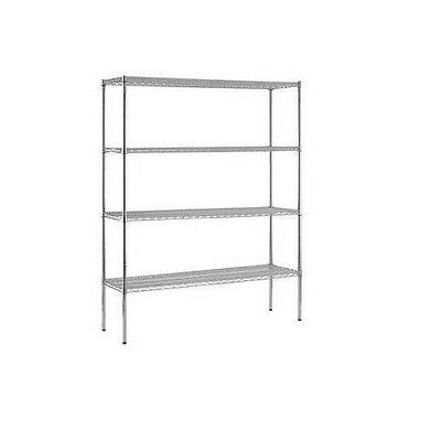 "NEW Heavy Duty NSF Certified Chrome 4-Shelf Wire Shelving - 74""H x 72""W x 24""D"