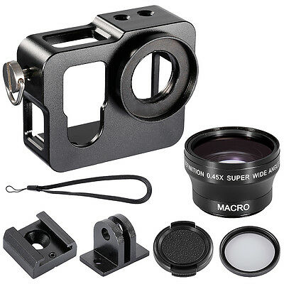 Neewer® Skeleton Protective Case+37MM UV Filter+Wide Angle Lens for GoPro 3+/4